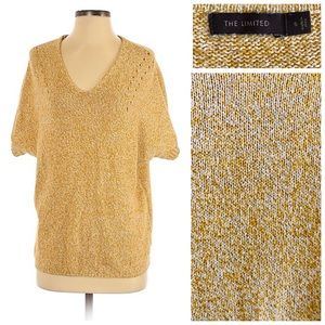 The Limited Marled Knit V-Neck Sweater, Mustard
